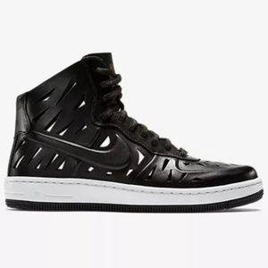 Nike AF1 laser cut black sneakers leather high Top